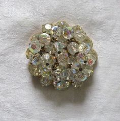 Vintage Austrian Crystal and Czech Glass Brooch / Rhinestone Bling Brooch by vintagous on Etsy