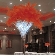 Martini Vase Feather Table Decoration: fabulous table decor for fire/ice party
