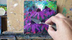 Palette Knife painting, free tutorial, Echinacea Flowers
