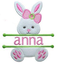 Pascua Bunny Applique Split Pascua Applique por GardenofDaisies
