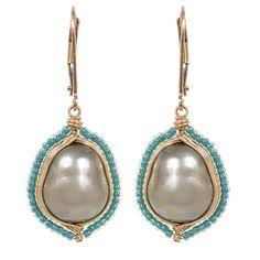 Dana Kellin Pearl Earrings with Seed Beads