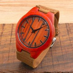 Personalized Design Red Wooden Men's Wristwatch with Brown Genuine Leather Band | Features: Christmas Gift, Valentine Gift, Birthday Gift, Anniversary Gift