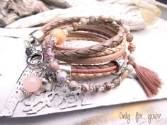 Wickelarmband ★ Nappaleder ★ beige rosa ★ Achat  von Only_ for_ you ★ jewels & more auf DaWanda.com
