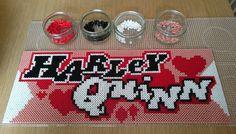 Harley Quinn logo perler beads by deadpixelschick - Pattern: https://de.pinterest.com/pin/374291419014475827/ Melty Bead Patterns, Pearler Bead Patterns, Pearler Beads, Perler Patterns, Fuse Beads, Beading Patterns, Plastic Bead Crafts, Plastic Beads, Pony Bead Projects