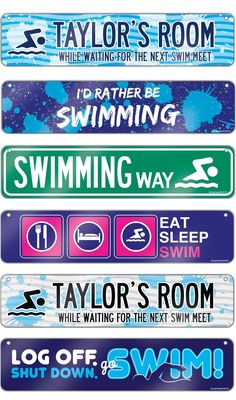 Life is better with Swimming Room Signs! These aluminum decorative signs are sure to add some swimming decor to any room! They make the coolest swimming gift for any avid swimmer or fan!