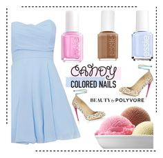 """""""Candy Colored Nails"""" by pianogirlzoe ❤ liked on Polyvore featuring beauty, TFNC, Aquazzura, Essie, contest, Beauty, candy and icecream"""