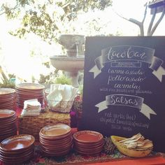 Love the platos de barro (clay plates) and chalk board for this Mexican wedding fiesta!