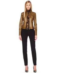 Michael Kors Quilted-Panel Leather Jacket, Brushstroke-Print Sleeveless Top & Samantha Skinny Pants - Neiman Marcus