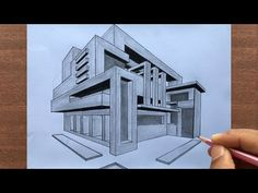 How to Draw a Building in 2-Point Perspective Step by Step - YouTube Perspective Building Drawing, Perspective Architecture, 2 Point Perspective Drawing, Perspective Art, Dream House Drawing, House Design Drawing, Architecture Concept Drawings, Architecture Sketchbook, Civil Drawing
