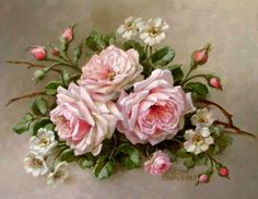 Christie Repasy La Belle Roses Canvas Giclee, featuring a pink roses with an alder flower on a twig, this canvas print is an original painting by Christie Repasy. Art Floral, Floral Prints, Vintage Rosen, Vintage Diy, Vintage Ideas, Vintage Images, Rose Embroidery, Silk Ribbon Embroidery, Embroidery Books