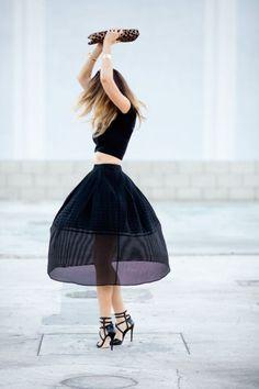 crop top midi skirt