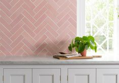 Handcrafted and designed in our on-site ceramics studio at Cotes Mill, by Hannah Livesley. Pink And Grey Kitchen, Pastel Kitchen, Bakery Interior, Kitchen Interior, Victorian Kitchen, Victorian Terrace, Home Decor Kitchen, Kitchen Design, Bungalow Kitchen