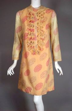 1960s peach floral print shift dress with ruffle