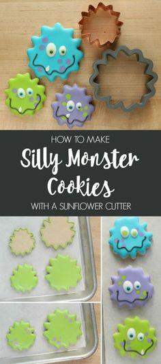 How to make simple silly monster cookies with a sunflower cutter!