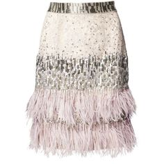 Matthew Williamson Silver Lace Beaded Feather Skirt ($2,195) ❤ liked on Polyvore featuring skirts, short, silver, silver skirt, pink lace skirt, knee length lace skirt, lace skirt and short skirts