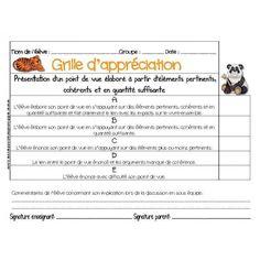 Grille d'appréciation ECR Communication Orale, Evaluation, Bulletins, Rubrics, Oeuvre D'art, Teaching Kids, Presentation, Boutique, Math