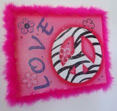 Zebra Print Peace Sign Wall Decor Delectable Hand Painted Fuzzy Pink Zebra Print Peace Sign Wall Decor Review