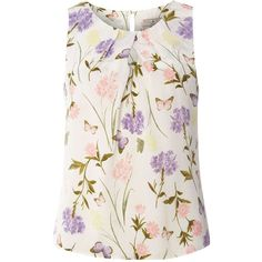 **Billie & Blossom Petite White Butterfly Shell Top (705 EGP) ❤ liked on Polyvore featuring tops, petite, white, petite white tops, butterfly print top, petite shell tops, white tops and butterfly tops