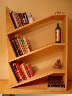 Leaning shelves bookshelf