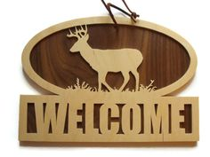Deer Welcome Sign Wall Hanging Plaque Handmade By by KevsKrafts