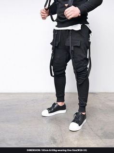 Bottoms :: Double Strap Cargo Baggy Jogger-Sweatpants 275 - Mens Fashion Clothing For An Attractive Guy Look - 2019 How To Wear Joggers, Joggers Outfit, Mens Joggers, Jogger Sweatpants, Fashion Sweatpants, Cool Outfits, Fashion Outfits, Mens Fashion, Guy Outfits