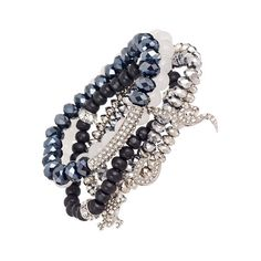 Blu Bijoux Silver Stretch Bracelets (57 BRL) ❤ liked on Polyvore featuring jewelry, bracelets, skull jewellery, silver skull charms, beading charms, skull jewelry and skull charms