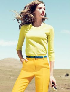 Yellows with a splash of blue: J.Crew catalog, March 2012