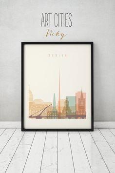 Dublin-print, Plakat, Typografie Kunst, Home Decor, Digital drucken, Kunst Drucke VICKY, Wandkunst, City-Poster, Irland Stadtansicht, Dublin Skyline.