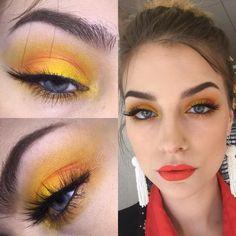 """Makeup Artist Creates A Stunning """"Daytime Wearable"""" Yellow Eyeshadow Look Yellow Makeup, Yellow Eyeshadow, Blue Eye Makeup, Eyeshadow Looks, Eye Makeup Art, Makeup Inspo, Makeup Inspiration, Hair Makeup, Makeup Ideas"""