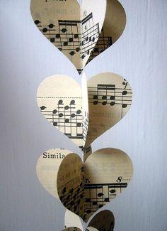 Heart Garland - Vintage Sheet Music - Paper Decoration - Music ...