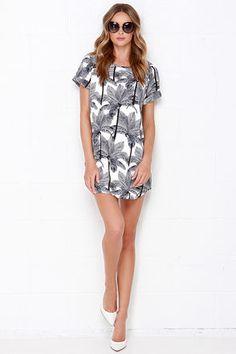 Cute Ivory and Navy Blue Dress - Palm Tree Dress - Shift Dress - $44.00