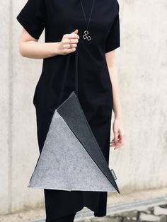 InVerted architectural triangle minimalist futuristic black and grey geometric handbag and backpack Crossover Bags, New Skin, Custom Bags, Backpack Purse, Minimalist Design, Black And Grey, Triangle, Felt, Backpacks
