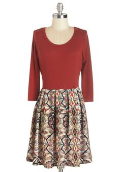 Indie Printmaker Dress - Red, Multi, Print, Casual, Twofer, Long Sleeve, Fall, Winter, Knit, Short, Scoop