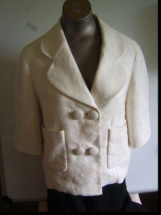 Philip Lim White Linen Bracelet Length Sleeve Double Breast Crop Jacket Size 8  #PhilipLim #BasicJacket