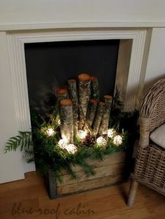 basket of birch logs and lights