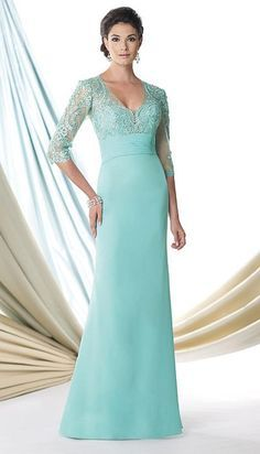 Montage 114907 - Chiffon long V neck mother of the bride dress with three quarter sheer sleeves and an embellished bodice.  Colors: Purple, Champagne, Aqua Green, Navy Blue