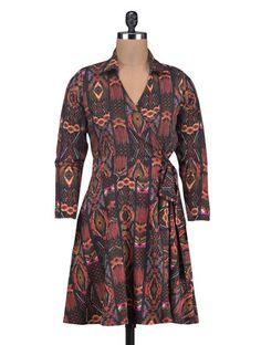Buy Sierra Multicoloured printed overlap dress Online, , LimeRoad