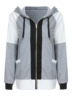 ffb63e95643 Amazing Women Casual Loose Contrast Color Patchwork Hooded Zipper Coat on  Newchic