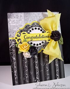 A wedding card using NEW JustRite Stamps, silk ribbon and roses!  Made for The Stamp Simply Ribbon Store.