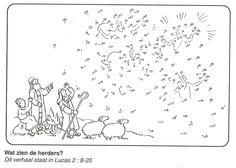 de herders in het veld verblind door hemelese legermacht engelen van stip naar stip