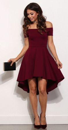 Burgundy Off the shoulder All The Rage Skater Dress #Hairstyles