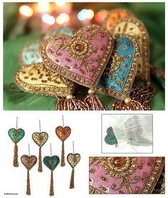 Beaded ornaments, 'Season of Love' (set of 6) - Indian Colorful Hand Made Beaded Heart Ornaments (Set of 6) (image 2)