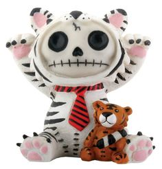 """Furrybones® White Tigrrr is a resin figurine featuring the signature skeleton Furrybones dressed up as a Bengal White tiger wearing a red striped tie with a small Bengal tiger doll.  Makes a great and cute gift!  Made of cold cast resin. Hand painted.  L: 2.25"""" x W: 1.75"""" x H: 2.5"""""""