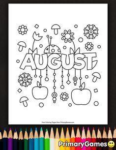 Free printable Summer Coloring Pages eBook for use in your classroom or home from PrimaryGames. Print and color this August coloring page.