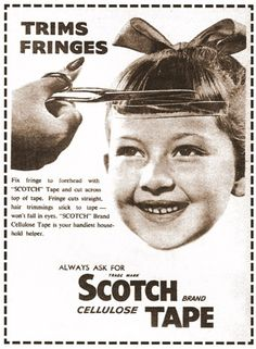 My mom cut my bangs this way. Totally traumatic. #nostalgia #scotchtape #tape #cellotape #bangs #haircut #hair #childhoodtrauma