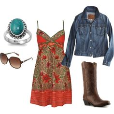 I love jean jackets and boots with sun dresses