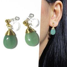 Green Aventurine Bridal clip-on earrings by boadNNcraft Clip On Earrings, Silver Earrings, Dangle Earrings, Pierced Earrings, Wedding Clip, Color Shapes, Green Aventurine, Gold Wire, Bridesmaid Earrings