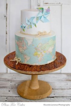 A huge variety of birthday cake pictures for all age groups, family members or friends. Find the right birthday cake idea for your cake design. Map Cake, Cake Art, Cake Wrecks, Beautiful Cake Pictures, Beautiful Cakes, Travel Cake, Wedding Ideas Board, Colorful Cakes, Fancy Cakes