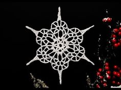 How To Crochet Snowflake Free Crochet Snowflake Patterns, Crochet Ornament Patterns, Crochet Ornaments, Christmas Crochet Patterns, Crochet Snowflakes, Christmas Knitting, Crochet Christmas, Lace Christmas Tree, Christmas Snowflakes