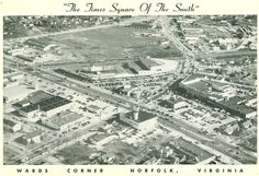 """Wards Corner, """"The Times Square of the South,"""" in the '40s. Seen in the photo: Barnett's Hardware, Crossroads Restaurant, Mercury Roller Rink, Hofheimer's, Burroughs Drive In."""